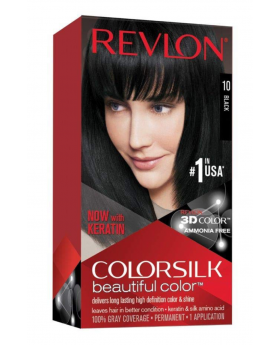 Revlon Colorsilk Beautiful Color, Permanent Hair Dye with Keratin, 100% Gray Coverage, Ammonia Free, 10 Black
