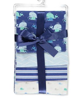 L'Amour 4 Pack Patterned Receiving Blankets Whale