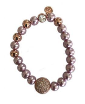 Rose Gold Attitude Matte and Brushed Bead Bangle Bracelet W/ Station of Closely Set Stones