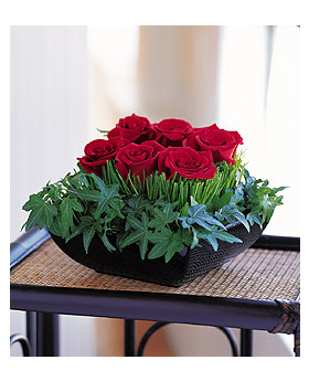Roses, Grass and Ivy Floral Arrangement