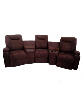 3-Piece Chocolate Brown Sectional with Recliner