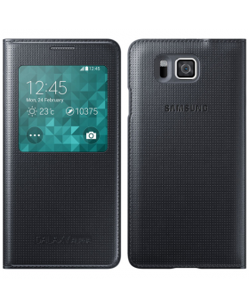 Front and rear view of the Samsung Galaxy Alpha Black Sview Cover