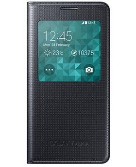 Front view of the Samsung Galaxy Alpha Black Sview Cover