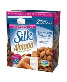 Silk Almond Unsweetened Vanilla, 2pk/64oz