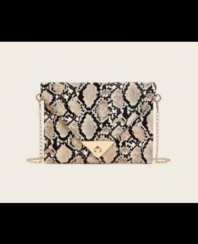 Snakeskin Print Chain Bag