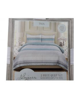 Sojourn Living 2pc Twin Quilt Set with Bonus Quilted Tote - Blue