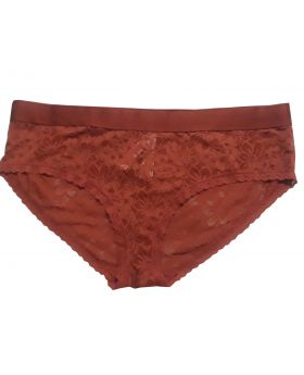 Stretch Cotton Logo Hiphugger Panty Rust XL