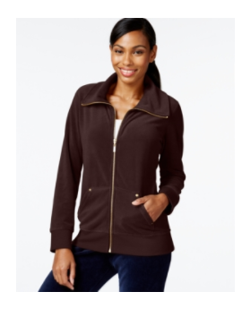 Style&co. Sport Womens Misses Velour Jacket Sz Xl Brown Zipper Coat - UPC 689439796953