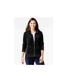 Style & Co. Sport Velour Zip-front Track Jacket Deep Black Size XL