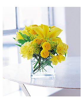 Cube with Yellow Blooms Floral Arrangement