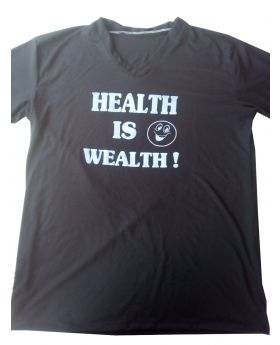 "T-Shirt 100% Cotton Custom Made Labeled ""Health Is Wealth :)"" Black"