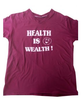 "T-Shirt 100% Cotton Custom Made Labeled ""Health Is Wealth"" Burgundy"
