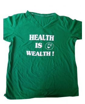 "T-Shirt 100% Cotton Custom Made Labeled ""Health Is Wealth :)"" Dark Green"