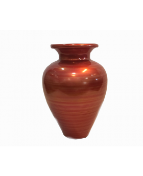 Terracotta Deco Vase in Red with Subtle Horizontal Lines