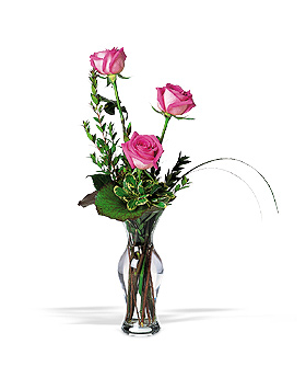 Three Pink Roses Floral Arrangement