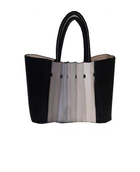 Tote Bag Cream- Multi-color Accordion Sides