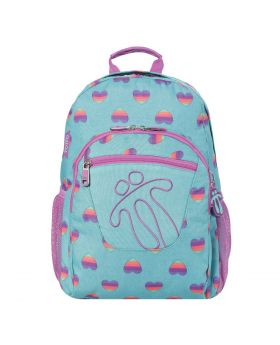 Totto Backpack Turquoise Blue W Rainbow Heart