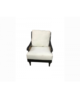 Traditional Armchair - Dark Brown With White Cushion