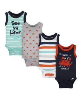 "Gerber® 4-Pack Baby Boys ""Crabby"" Sleeveless Onesies Bodysuits 0-3M & 3-6M"