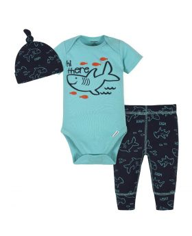 Gerber 3-Piece Baby Boys Shark Bodysuit, Pants & Cap Set