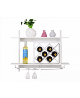 Wall Mount Wine Rack with Glass Holder & Storage Shelf Organizer