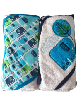Hooded Towel 2 Pack - Elephant