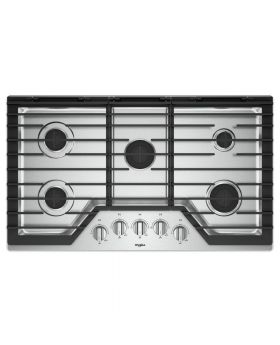 Whirlpool WCG55US6HS 36-inch Gas Cooktop with EZ-2-Lift™ Hinged Cast-Iron Grates