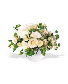 White Roses and Carnations Floral Arrangement