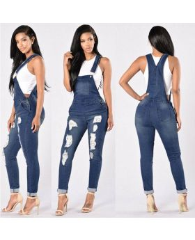 Women Loose Denim Hole Overall Jumpsuit