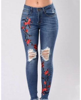 Women's High Waist Corner Embroidered Skinny Jeans