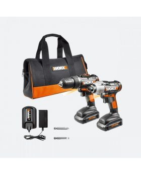 WORK 20V Power Share Cordless 2 Piece Drill Combo Kit