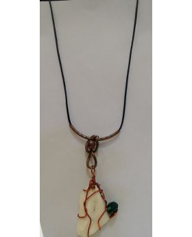 Lilibit Creation Necklace Pendant from Sea Stone Decorated with Copper and Green - One of a Kind