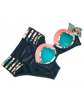 Xhiliration High Waist Convertible 2 pc Swimsuit Emerald Green (M)