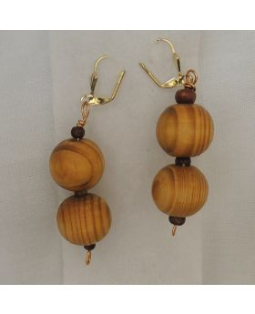 Lilibit Creation Earrings – Drop Earrings in Coconut Wood Beads