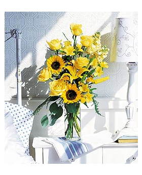 Yellow Roses and Sunflowers Floral Arrangement