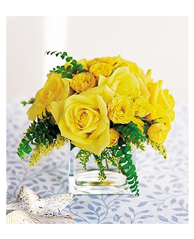 Yellow Roses in a Cube Floral Arrangement