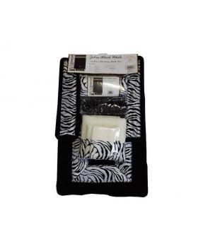 Zebra Black & White 18 Piece Flocking Bath Set