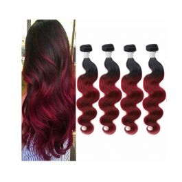 """10A Ombre Body Wave Human Hair 4 Bundles Ombre Body Wave Human Hair Weave Dark Red 1B 99j Burgundy Human Hair Extensions(14"""" 16"""" 18"""" & 20"""")"""