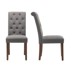 Set of 2 Ash Grey Tufted Dining Chairs