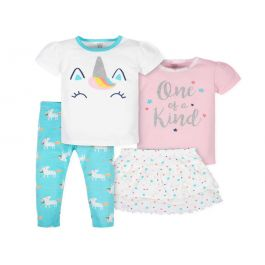 4-Piece Girls Unicorn Skirted Panty, Shirts, And Slim Pant Set
