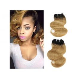 """8"""" Human Hair extensions 4 Bundles Ombre Black to Brown Two Tone Brazilian Remy Hair Extensions Body Wave (8"""", T1B/27)"""