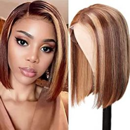 Highlight Ombre 13x4 Lace Front Short Bob, 180% Density, Brazilian Remy Hair Brown Blonde Streaks Straight Lace Frontal Wig Pre Plucked with Baby Hair (10 inch)