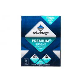 "Advantage Premium Bright Ink Jet and Laser Paper, 8.5""x11"" Letter, White, 24lb, 97 Bright, 800 Sheets"