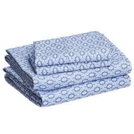 AmazonBasics Blue Damask Microfiber Sheet Set - Queen