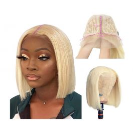 Blonde Wig Short Bob Human Hair Pre Plucked 613 T Lace Front Wig 13x4x1 Lace Bob Straight Wig Brazilian Virgin Hair Middle Part with Baby Hair 180% Density Full Head Wig 10 inches