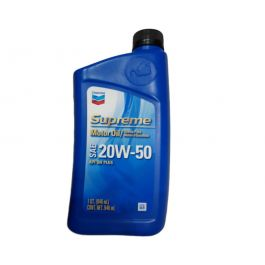 Chevron Supreme Motor Oil SAE 20W-50 - 1 Quart Bottle, (Pack of 12).