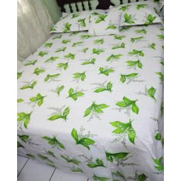 Aleos 5 Piece King Size White & Green Sheet Set