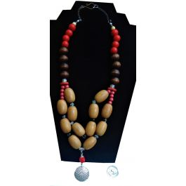 Lilibit Creation Necklace Bold Design, 2-string, Mix of Colours with Large Wood Beads - One of a Kind