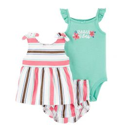 Pink & Turquoise 'Beach Vibes' Babydoll Dress Set - Infant