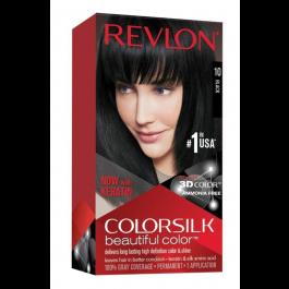 Revlon Colorsilk Beautiful Color, Permanent Hair Dye with Keratin, 100% Gray Coverage, Ammonia Free, 10 Black